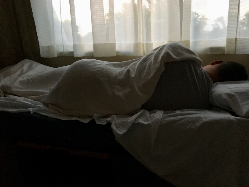 Steven sleeping in hospital